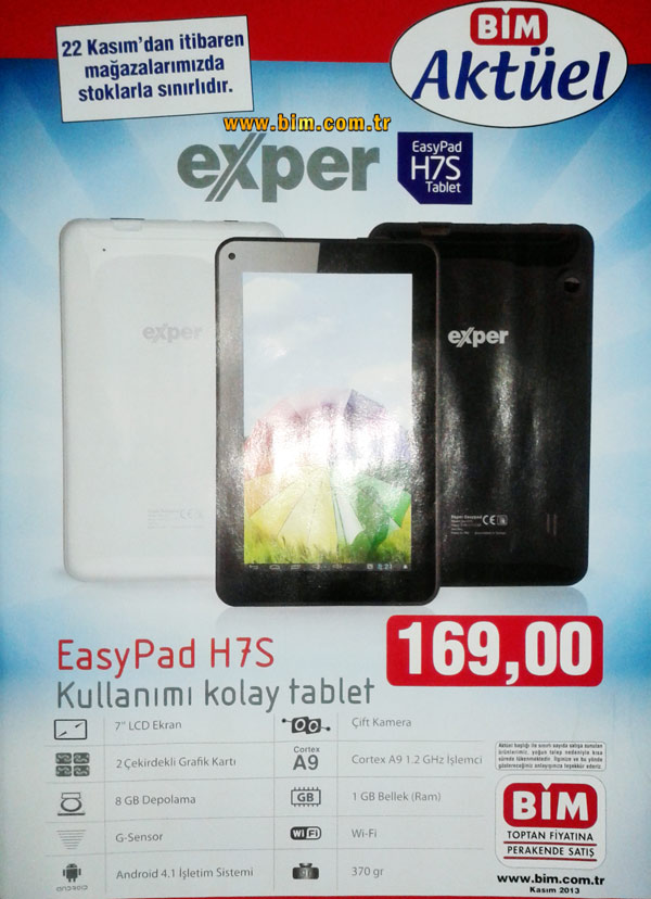 Bim exper easypad h7s tablet inceleme